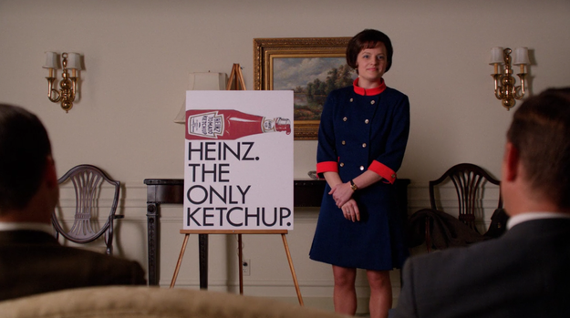 In that same episode, Peggy Olson (Elisabeth Moss), who'd previously left Sterling Cooper Draper Pryce for a different agency, presented an ad that was well-received by the company, because it showcased the iconic ketchup bottle front and center.
