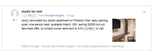 "Take this listing on NextDoor for a studio for rent in the Presidio Heights neighborhood of SF. It boasts ""easy parking"" and says it's probably best for ""one person."" The landlord is asking $2,000."