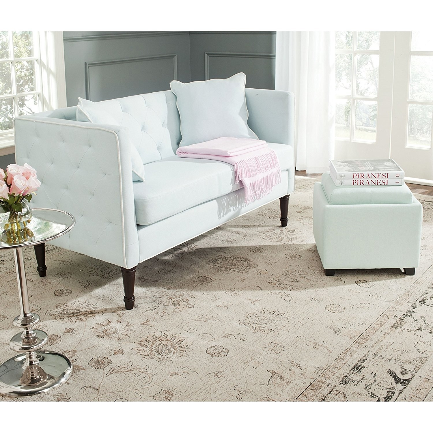 4. A powder blue sette designed for tea parties. Tea parties of one to be specific. & 21 Sofas For Anyone Who Doesn\u0027t Have A Lot Of Space
