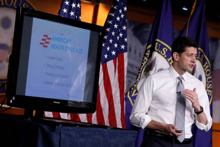 Speaker of the House Paul Ryan speaks at a news conference about Congressional efforts to repeal and replace Obamacare.