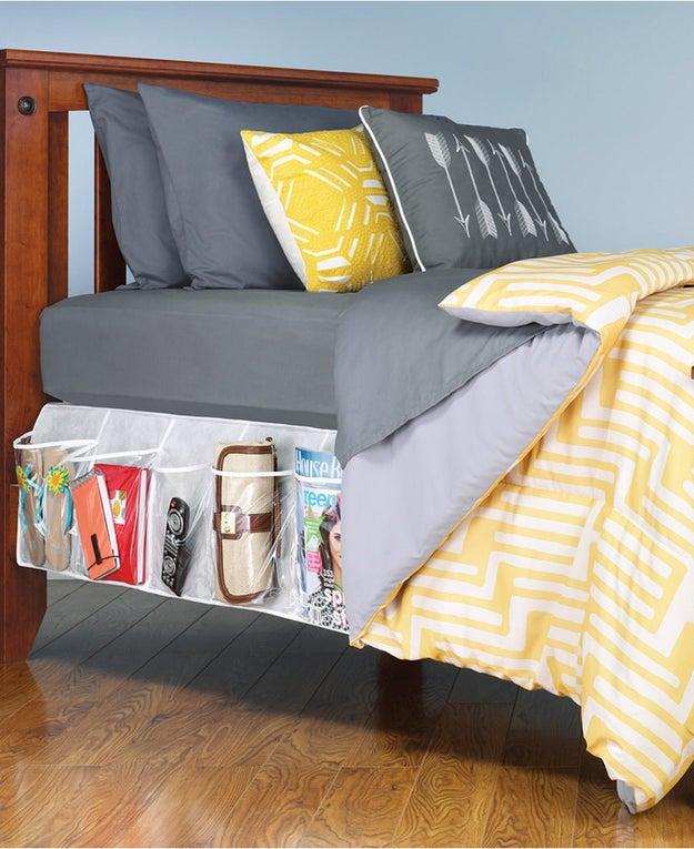 Get a bedskirt organizer to hide clutter.