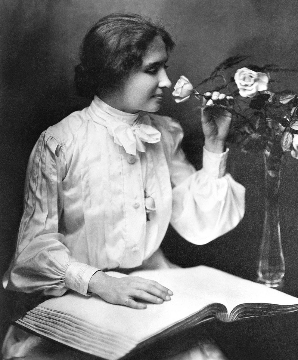 Helen Keller, author, activist, and the first deaf and blind person to earn a Bachelor of Arts degree.