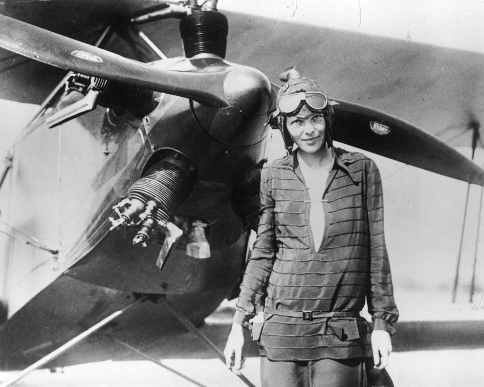 Amelia Earhart, the first female aviator to fly solo across the Atlantic.