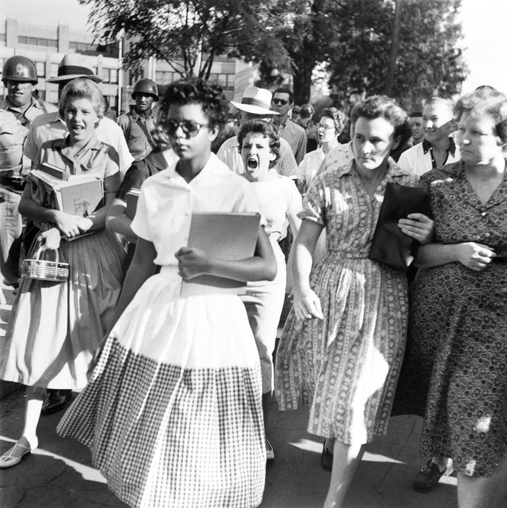 Elizabeth Eckford, one of the first black students to attend a desegregated high school in Little Rock, Arkansas.