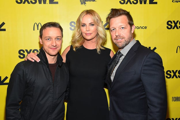 On Sunday night, she attended the film's premiere with her co-star James McAvoy and Atomic Blonde director David Leitch.