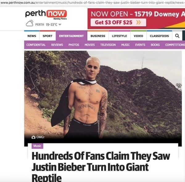 Is Justin Bieber in the Reptilian Illuminati? Some Australians say yes.