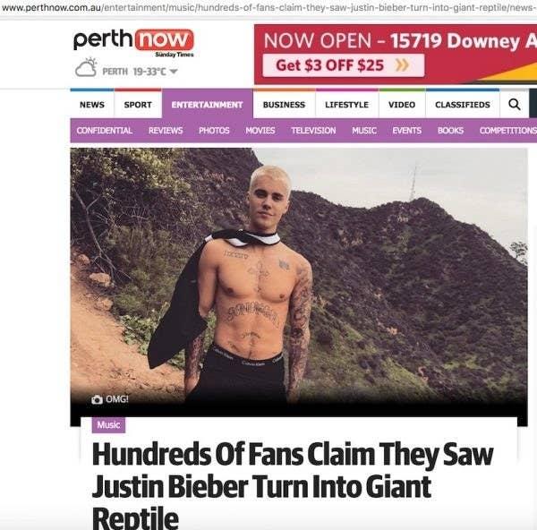 Is Justin Bieber in the Reptilian Illuminati? Some Australians say yes.
