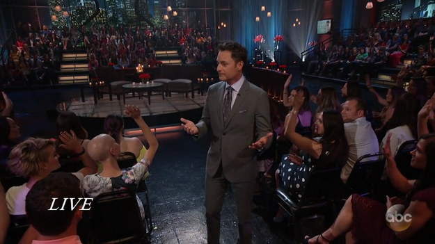 The live studio audience cheers very loudly when Chris Harrison asks who thinks Nick is going to end up alone.