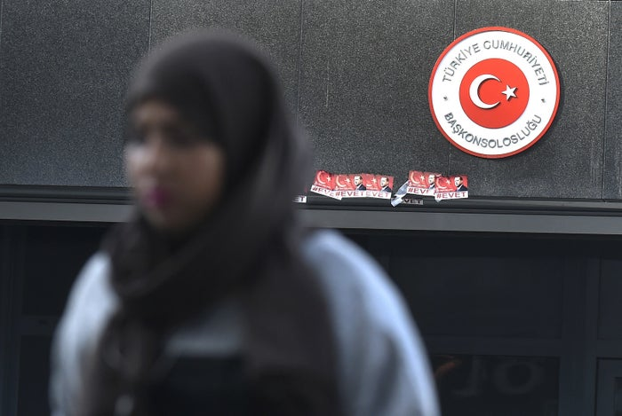 A Turkish woman walks in front of the Turkish Consulate in Rotterdam on March 14.