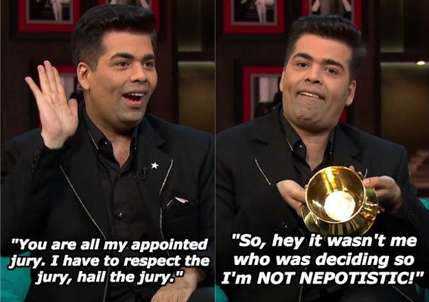 "And when Karan has something to say about Kangana Ranaut calling him a ""flag-bearer of nepotism""."