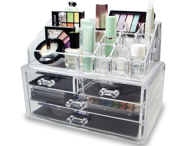 A clear jewelry/cosmetic storage box to make your life and makeup game MUCH easier.