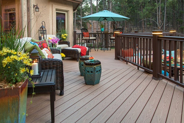 A large, beautifully furnished deck.
