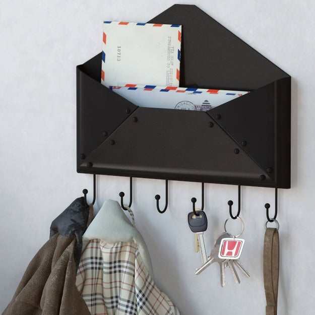 The cutest wall-mount key rack and mail holder.
