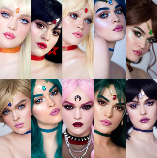 Regina, better known as @Picturresque on Instagram, is a professional makeup artist who decided to transform herself into not one, not two, but ALL of the Sailor Scouts.