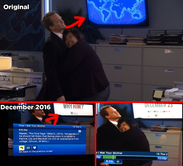 Sometimes How I Met Your Mother injects current-day ads into the background of old episodes — for example, this episode from December 2012 advertising the 2016 film Why Him?