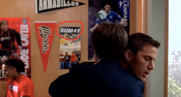 Duke loves Sum 41, which we can see displayed with all his soccer posters.