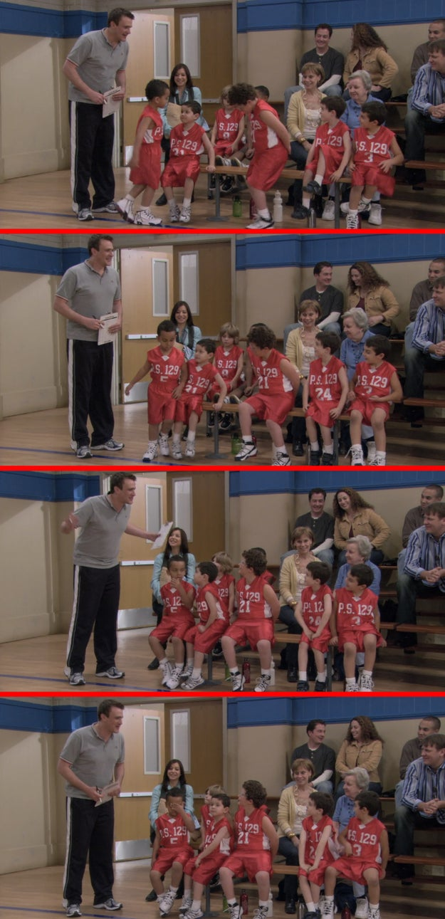 """In the episode """"Murtaugh,"""" Marshall is coaching a children's basketball team. In one scene, one kid appears to blow or spit in the eye of another kid who tried to scoot him out of his seat."""