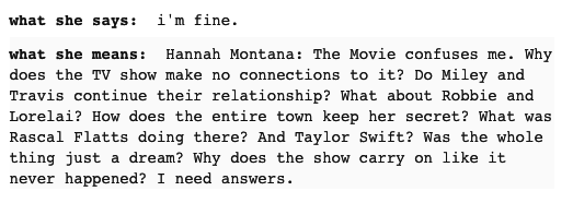 Or she's picking apart the illogical plot holes in Hannah Montana: The Movie.