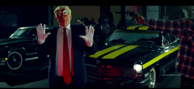 If you can get past the many, many clowns and keep watching, there comes a moment when Snoop Dogg points a gun at a character based on President Donald Trump.