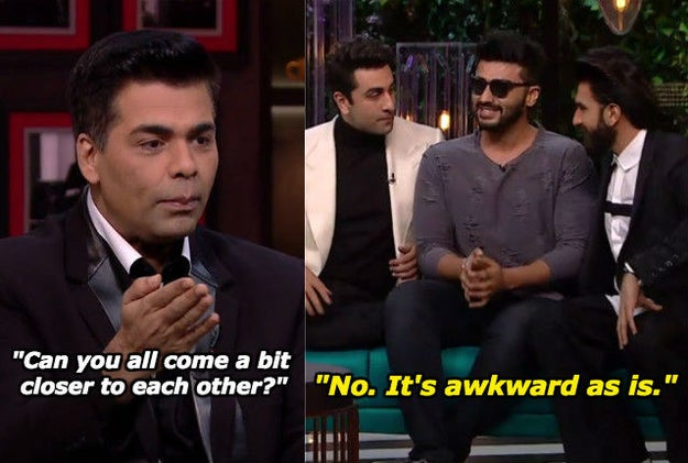 When he just dropped by the KwK set to say hello but was dragged into a game that involved being kissed violently by Ranveer Singh and Ranbir Kapoor.