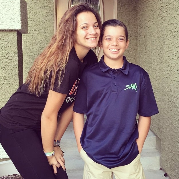 This is Juliana Gant with her 12-year-old brother, Evan. Around two months ago, Juliana came out to him.