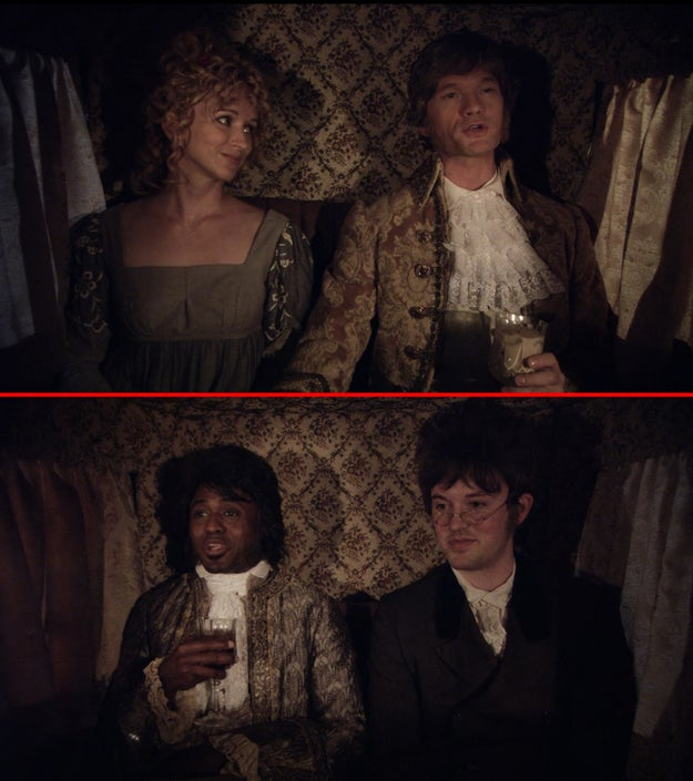 In Barney's flashback to Moscow in 1807, he's drinking a White Russian, while James is drinking a Black Russian.