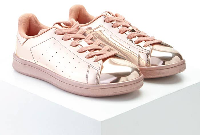 4981818a409 Metallic lace-ups that will help you see the world through rose-colored  sneakers.