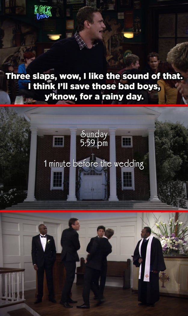 """In the episode, """"Disaster Averted,"""" Marshall uses some slaps on Barney, saying he'll save the last of 'em """"for a rainy day."""" On """"End of the Aisle,"""" when he uses his final slap on Barney, it's raining."""