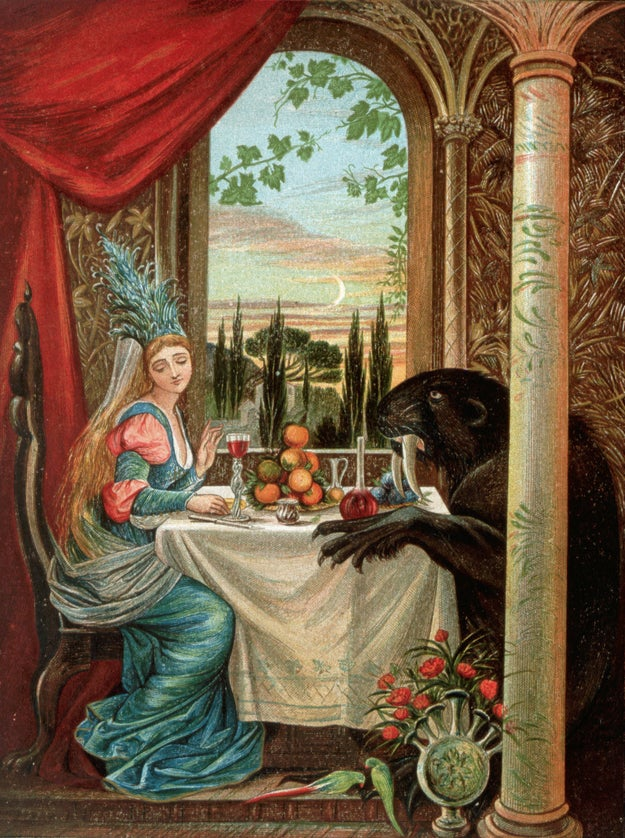 Here's a thoroughly unimpressed Belle sharing a platter of oranges with what happens if a beaver bangs a walrus:
