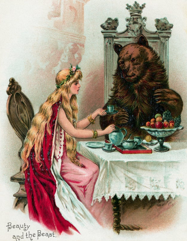 Here's straight-from-a-music-festival Belle offering tea to a pretty run-of-the-mill bear: