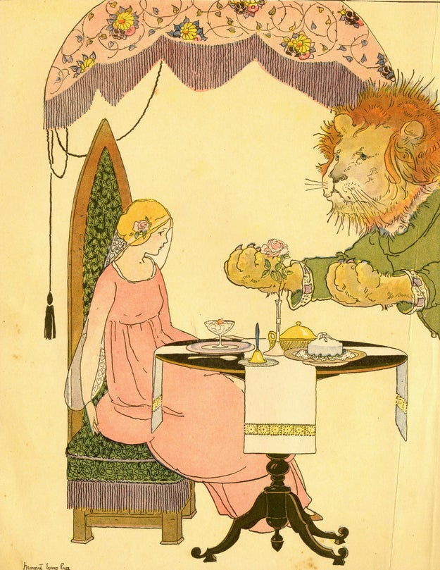 In this 1921 illustration, the beast is a lion who doesn't understand why his hostage won't cut him a freaking break: