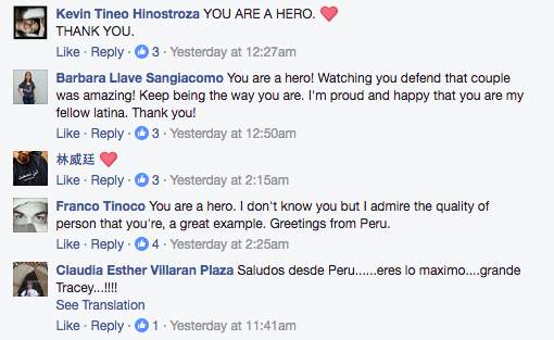 Since the video surfaced last weekend, Tong has received several messages from people online hailing her a hero, and thanking her for stepping in and stopping the harassment.