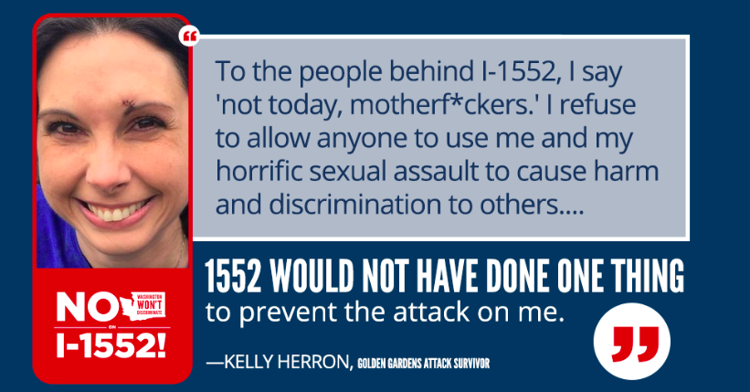 She was so pissed off, she decided to turn the tables for the second time in a week. On Thursday, Herron sent an email on behalf of a campaign in favor of transgender rights, Washington Won't Discriminate, which is trying to keep the transgender-protection law on the books.