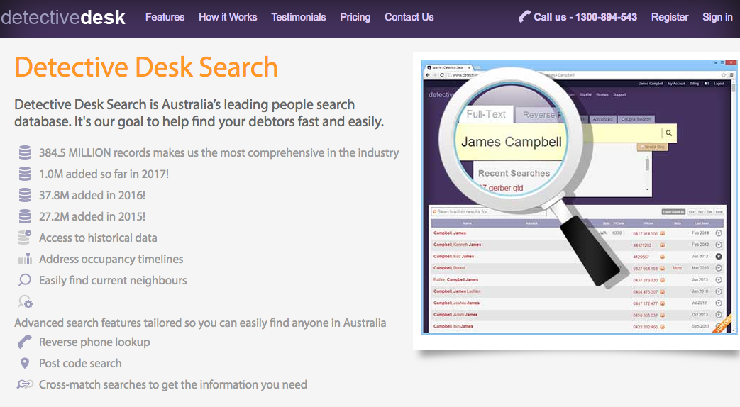 database and people search and australian