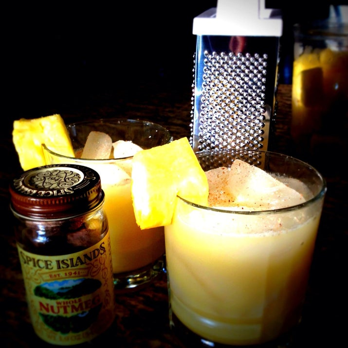 Ingredients:60 ml Old Monk30 ml coconut cream120 ml pineapple juice30 ml orange juiceNutmeg powderPour the rum, coconut cream, pineapple juice and orange juice into a shaker and shake well. Strain into a glass, add ice and sprinkle a pinch of nutmeg powder on top. If you wanna impress your friends even more, you can garnish it with a slice of fruit.
