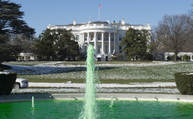 The White House went all out for the Irish visit, even dying a fountain green ahead of St. Patrick's Day on Friday.