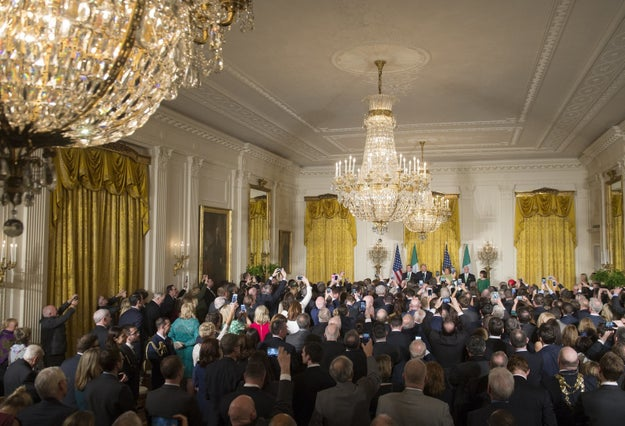 The two leaders had a meeting in the Oval Office, then the president hosted a reception for Kenny and his wife in the East Room on Thursday night.