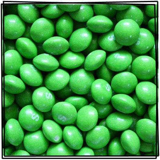 Lime-flavored Skittles: