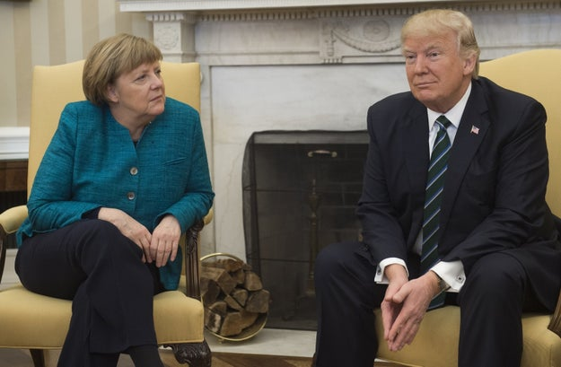 The whole thing was already pretty tense because of Trump's past comments slamming NATO, Germany's dominance in the EU, and Merkel's pro-refugee immigration policies.
