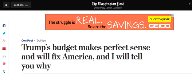 As you can see above, Friday's newsletter included this Thursday Washington Post opinion piece on Trump's controversial budget proposal from columnist Alexandra Petri.