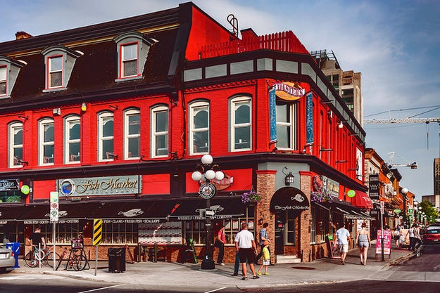 It barely has a historic market where you can shop, eat, or enjoy a beer on a patio.