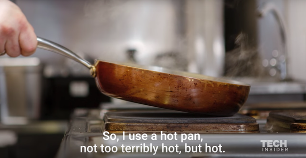 Start off by heating your pan — but not too much.
