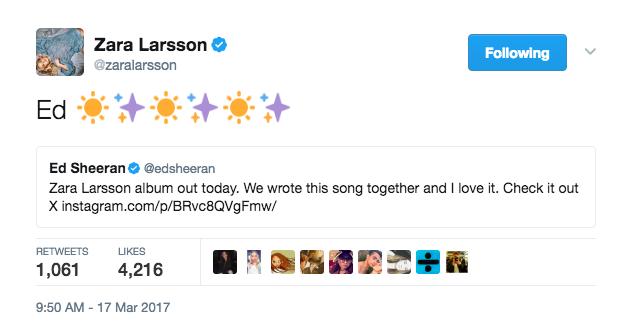 Zara Larsson wrote a song with Ed Sheeran.