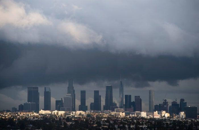 Rain clouds over downtown LA on January 12.