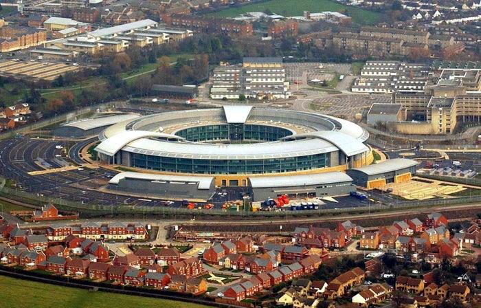 "GCHQ's distinctive ""donut"" headquarters in Cheltenham."