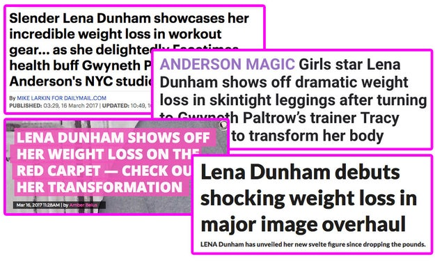 """Headlines all over the world praised Lena for her """"dramatic weight loss"""", calling the change """"shocking"""" and """"incredible"""" and encouraging readers to """"check out her transformation""""."""