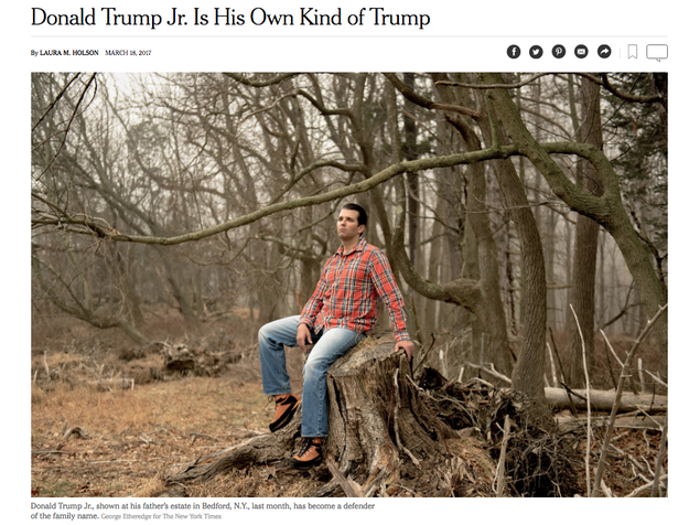 But it was the atmospheric lead image of Trump Jr. looking emotional in the woods at his father's Bedford, NY estate that really got people talking.