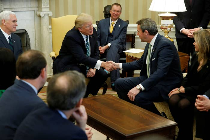 President Donald Trump, Vice President Mike Pence and Office of Management and Budget Director Mick Mulvaney meet with Rep. Mark Walker and members of the Republican Study Committee at the White House.
