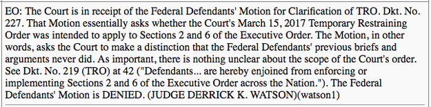 Read the electronic order from Judge Watson: