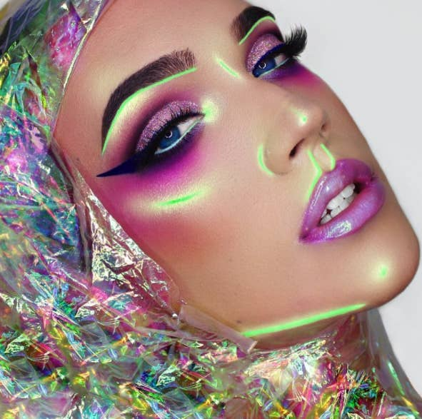 For this neon look, she used Kryolan's Aquacolor-UV Dayglow palette ($34).